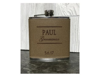 Sale ! Leather Groomsmen Flasks - Personalized 6oz Leather Wedding Flasks - Perfect for Best Man, Groomsman, Ushers, Fathers