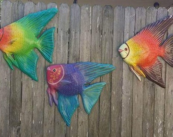 3 Very large paper mache fish wall decoration