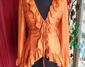 Orange silk blouse/jacket with ruffles, back lacing, bellsleeves and pointy elongated back Flounced blouse Ruffled top EU S, US 6-8, UK 8-10