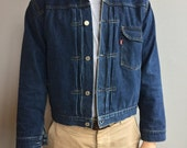 Levi's LVC 506xx Pleated Denim Jacket with Buckle Back Size 40