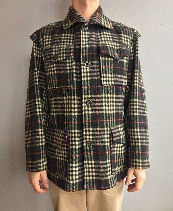 1940s Carss Wool Black, Red and White Plaid Hunting Coat with Shoulder Detail