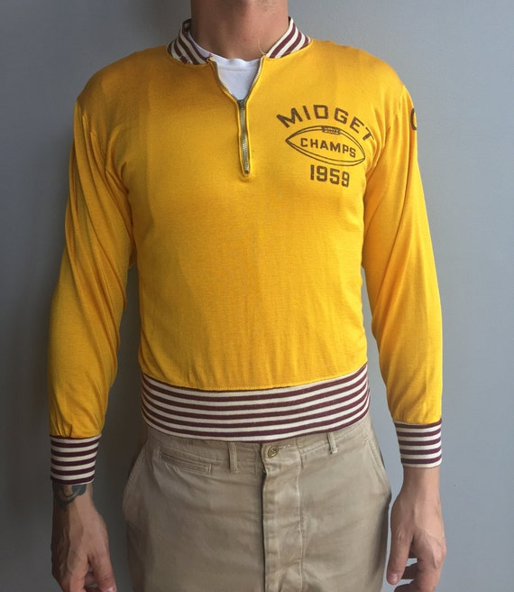 "1950s Como Yellow Jersey with maroon and cream striped collar Felco  ""Midget Champs 1959"""