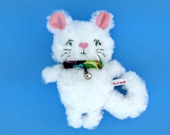 PROMO plush kitten minky rosette white, pink ears with tropical pattern with Bell necklace, gift