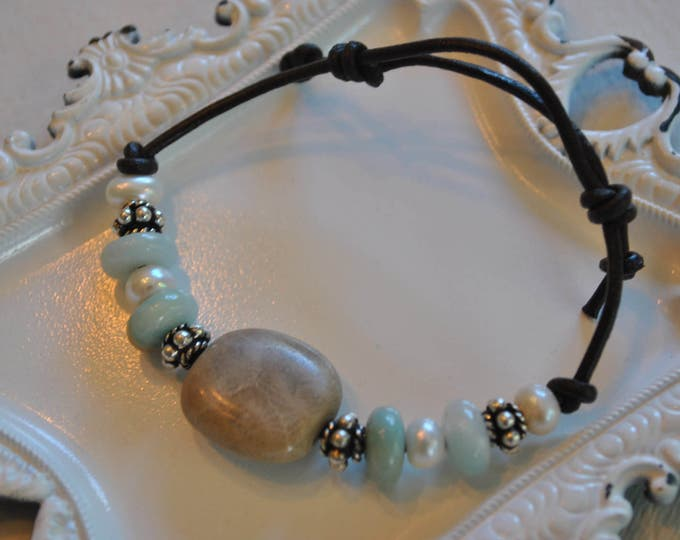 Petoskey Stone Bracelet on leather with sterling beads, amazonite stone beads, and freshwater pearls, Up North, bracelet, Michigan