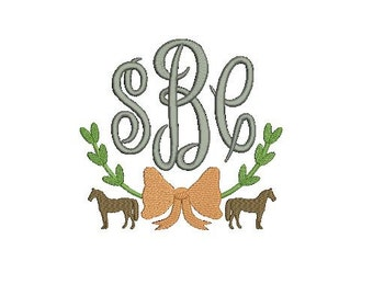 Horse Pony Equestrian Swag Monogram Frame Design File for Embroidery Machine Monogram Applique Instant Download Vintage Classic Preppy