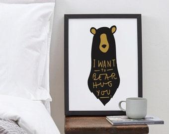 A3 Bear Hug Print - bear print - nursery print - romantic print - bear hug poster