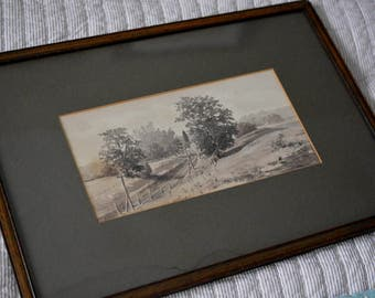 Original Watercolor H B Judy Tschudy Matted and Framed Landscape Farmhouse Scene