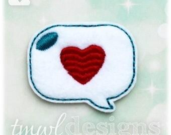 "Heart Talk Bubble Feltie Digital Design File - 1.75"""