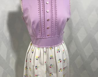 Vintage 1970s Vicky Vaughn Juniors Lavender and Floral Print Maxi Dress