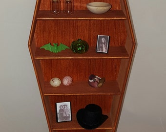 Stained coffin Shelves/ Craft show display/ Display shelves/ collectible display/ gothic display shelves/ jewelry display/ crafter shelf