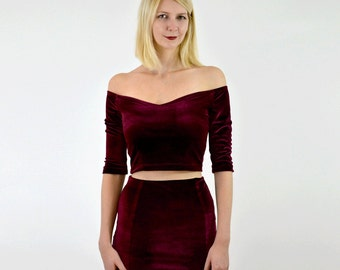 SPECIAL EDITION Coco Party Going Out Burgundy Velour Crop Top. Stretch Velvet Off Shoulder Christmas Top with Elbow Length Sleeves in Red