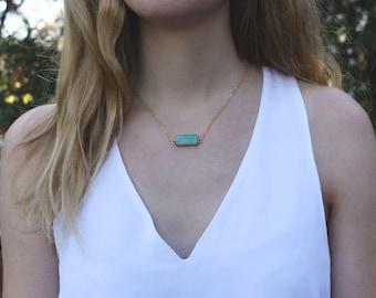 Amazonite Stone Bar Necklace // Turquiose Minimal Necklace // Crystal Gemstone Layering Necklace // Geometric Necklace // Stone Bar Necklace