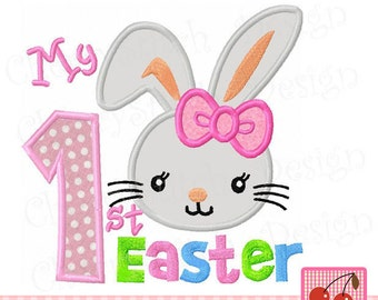 My 1st Easter Bunny Machine Embroidery Design for girls -4x4 5x5 6x6 inch