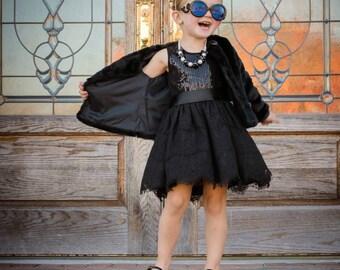 Black Lace Sequin Dress - Infant, Toddler, Girls