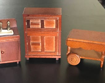Free Shipping KITCHEN FURNITURE Vintage Rustic Wooden Miniature Dollhouse  Kitchen Furniture, Sink W/ Cupboard