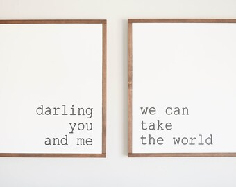 "TAKE THE WORLD - 24x24"" Sign Set ( Fixer upper, modern farmhouse, master bedroom art )"