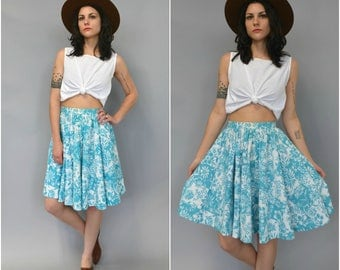 1950s 60s high waisted floral cotton circle skirt