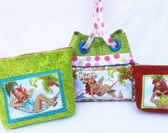 Beach Gal Collection - Travel Set - Grommet bag, zipper pouch, organize, storage