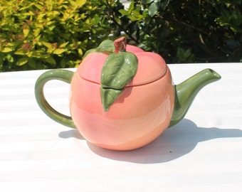 Peach Pottery Teapot
