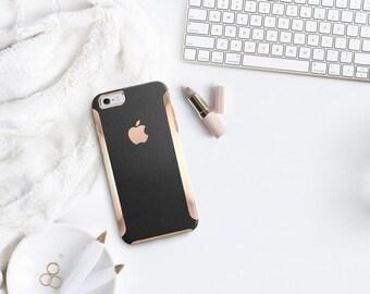 Platinum Edition Black Leather w/Rose Gold Detailing Hybrid Case Otterbox Symmetry iPhone 6 / iPhone 7 / iPhone 8 / iPhone 8 Plus /  / LG G6