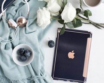 Platinum Edition Brushed Blue with Rose Gold Detailing Hybrid Smart Cover Hard Case for the iPad Air 2, iPad mini 4 , iPad Pro