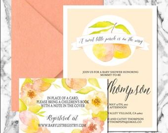 Sweet as a Peach invitation (digital file)