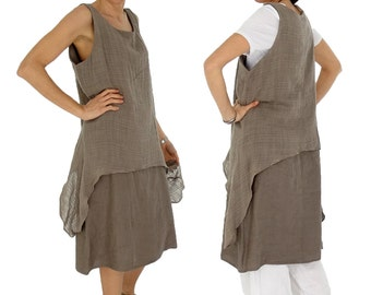 HW900TP dress layered look tunic Gr. L linen material mix oversize Gr. 40 42 44 portable taupe