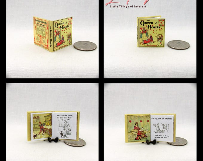 Miniature Book THE QUEEN Of HEARTS Dollhouse Miniature Book 1:12 Scale Illustrated Readable Book Queen of Hearts Sing a Song for Sixpence