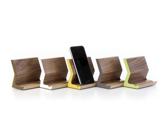 "Walnut Phone Stand (Made-to-Order) | Phone Perch | Phone Holder | Walnut + Colored Laminate | size 4"" x 2.75"" x 3.75"""