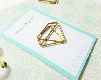 Gold Diamond Paper Clip - Diamond Paper Clip, Planner Accessories, For Use With Kate Spade Planner, Happy Planner, Midori, Kikki K, Filofax