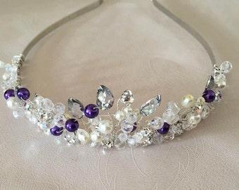 Bridal wedding purple,rhinestone,diamanté tiara/headband/headdress