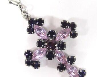 SoHo® pendant cross small marquise navette crystals alexandrite purple velvet Rhinestones handmade in cologne