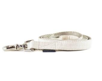 Ivory Metallic Mini Dots Dog Leash  - Silver Grey and Cream Champagne Polkadot Ribbon and Nylon Dog Leash - Wedding Dog Lead