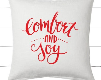 Red and White Comfort and Joy Christmas Pillow and Insert Christmas Decoration Christmas Saying Holiday Pillow Red White Christmas Classic