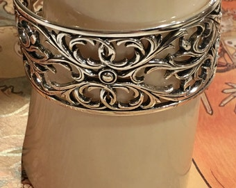 Sterling Filigree Art Nouveau Cuff Bracelet and Ring Elegant Medieval Renaissance All Solid 925 Sterling Silver MADE IN USA