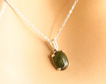 Green Jade Necklace, Genuine Nephrite Jade Necklace, 925 Sterling Silver Real Jade Necklace