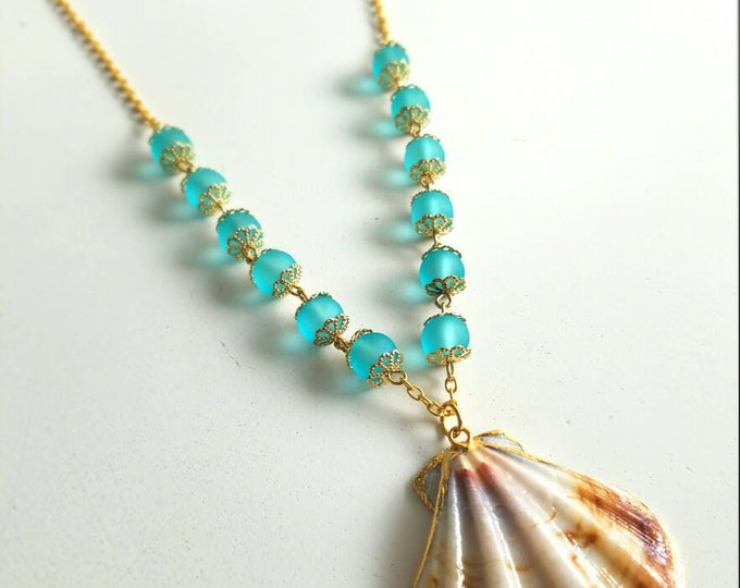 Teal Blue Gold Chain Seashell Mermaid Necklace