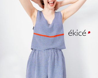 short flowing white blue retro ekice divided skirt pattern