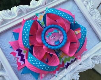 Princess Poppy Bow - TROLLS Hair bow - Trolls Party - Girls Birthday Bow - Polka dot bow - Trolls movie Bow - Poppy bow - Trolls outfit