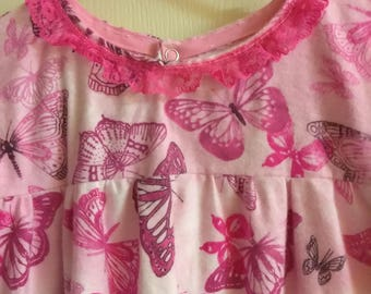 Girls pink Butterfly flannel long Nightgown/sleepwear size 12/14