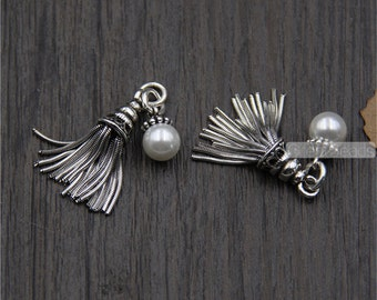 1pc Thai Sterling Silver Tassel Pendant with a Shell Pearl Bead 25mm Solid 925 Silver Chain Tassel Sterling Silver Fringe Pendant LT16