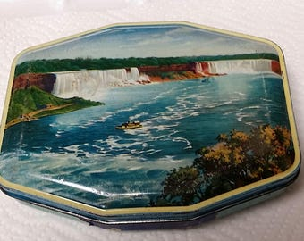 Vintage George W. Horner NIAGARA Tin The American and Canadian Falls Boy Blue Rum and Butter Toffee Tin