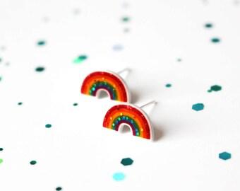 Rainbow stud earrings, Rainbow jewellery, Rainbow, Glitter earrings, Girls earrings, Cute earrings, Stud earrings, Handmade earrings