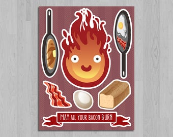 Cooking with Calcifer Sticker Sheet - Howl's Moving Castle Stickers - Studio Ghibli