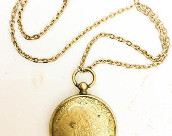 Antique Locket with necklace. Victorian. Floral etched case. Brass. stash case. Art  Nouveau pendant LA eb