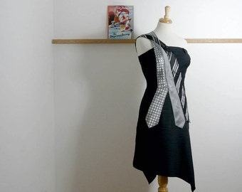 Size L - Tie Dress in Grey & White  - Upcycled