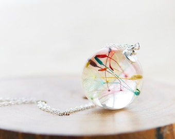 Rainbow Dandelion Wish Necklace - Dandelion Orb , Rainbow Necklace , Dandelion Necklace , Dandelion Seed Necklace , Dandelion Jewelry ,Resin