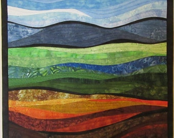 Art Quilt Abstract Landscape 8, Wall Quilt, Wall Hanging, Nature quilt