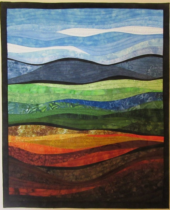 Art Quilt Abstract Landscape 8, Wall Hanging