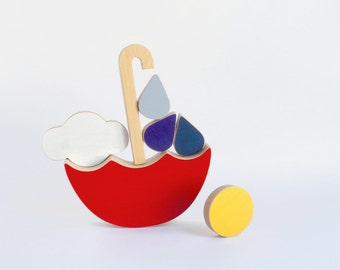 Wooden stacking toy umbrella, red balance toy for toddlers